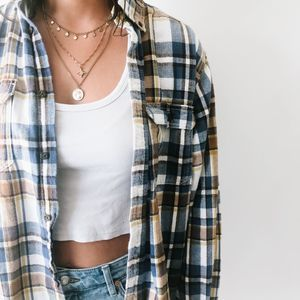 Oversized Blue & Tan Button Down Flannel